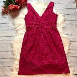 Trina Turk Raspberry Lace Cocktail V-neck Dress